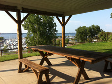 Erie Independence House Laura Wallerstein mobility impaired Apartments has covered, outdoor grilling and picnic table area with a sweeping view of Lake Erie and Erie marinas.